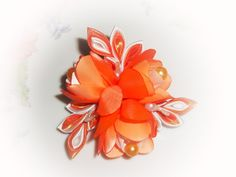 Peach   Kanzashi Fabric Flower hair clip  and brooch. от Stephaana, $15.00