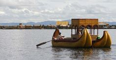 """The Uros people live on 42 artificial floating islands on Lake Titicaca. They call themselves """"Lupihaques"""" (Sons of the Sun) and descendants of the ancient Uros, a pre-Incan people. However, there has been a great deal of academic debate on their real origins."""