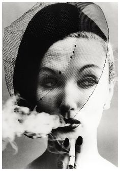 Lisa Fonssagrives smoking, photographed by William Klein, Smoke and Veil, 1956