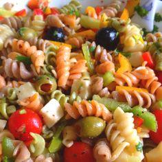 Pasta salad with lots if veggies and fresh mozzarella!