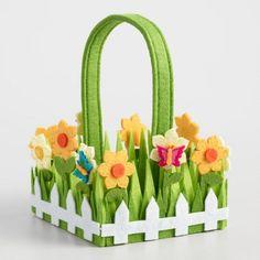 Small Grass Felt Easter  Basket