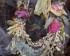 Petals and old laces necklace- original shabby chic antique lace necklace, hand stitched, beaded