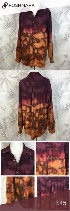 """[Vintage] Custom Bleach Plaid Flannel Shirt Ombre Cozy and cool oversized boyfriend plaid flannel shirt. Custom bleached and dyed. Has an ombre effect. Left chest pocket. Made from a men's shirt. No fabric/size label. Fits like an oversized medium. Check measurements.  Bust: 24"""" Length: 28"""" Condition: Distressed and bleached by design. 2 small holes where label was removed. Only on inside lining. See last photo.  Measurements taken while lying flat. Vintage Tops Button Down Shirts"""
