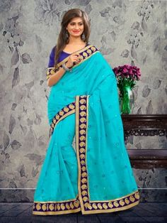 Light Blue Bhagalpuri Silk Saree With Resham Work www.saree.com
