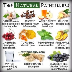 Top All Natural Pain Killers pain fruits vegetables health healthy living remedies remedy healthy lifestyle all natural pain killers Natural Health Remedies, Natural Cures, Herbal Remedies, Natural Treatments, Natural Oil, Natural Healing, Natural Foods, Natural Products, Holistic Healing