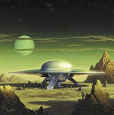Retro-Future, Science Fiction, Space Fiction, Forbidden Planet - United Planets Cruiser on planet Altair IV Arte Sci Fi, Sci Fi Art, Sci Fi Kunst, Science Fiction Kunst, Classic Sci Fi, Aliens And Ufos, Alien Art, Sci Fi Movies, Space Travel