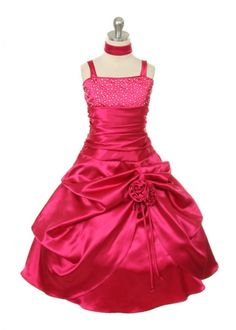 Fushia Long Satin Pickup Syle Pageant Girl Dress