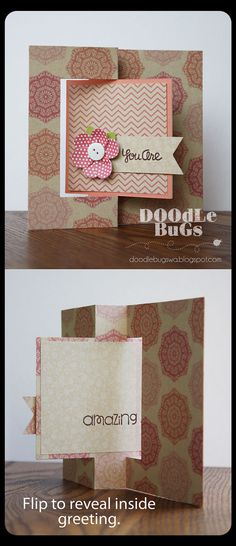 Flip Card using Sizzix Flip It Die and Pebbles paper collection
