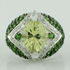 Lemon Quartz,Sapphire in 925 Sterling Silver Right Hand Fancy Ring GSR1146 s-7