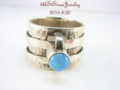 R0897 Retired Silpada Sterling Silver 925 Faux Blue Opal Spinner Ring Size 6…