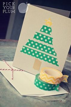 Diy Christmas card - Holiday Washi Tape for Off - Do it yourself - visual know how! Or use ribbon to make the tree! Christmas On A Budget, Holiday Crafts For Kids, Diy Christmas Cards, Noel Christmas, Xmas Cards, Holiday Fun, Christmas Crafts, Cards Diy, Washi Tape Cards