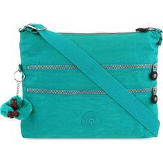 KIPLING Alvar shoulder bag ($95) ❤ liked on Polyvore featuring bags, handbags, shoulder bags, cool turq, monkey purse, kipling purse, blue purse, shoulder strap purses and shoulder bag handbag