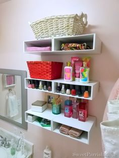 Bathroom Shelves from Magazine Holders | Sweet Parrish Place