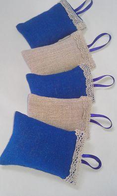 Linen Lavander Sachets Natural Linen Set of 5 by AtelierByLiza