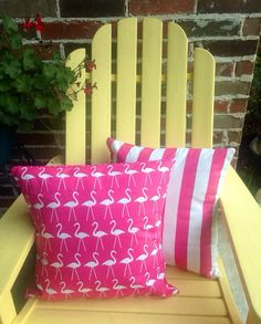 Pink flamingo pillow cover Beach stripe by WhimsicalDesignsbyMe, $35.00