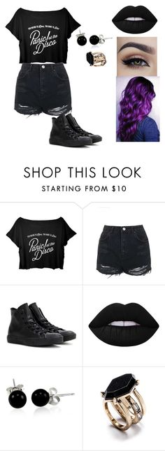 """Black out"" by trinitymahomie on Polyvore featuring Topshop, Converse, Lime Crime and Bling Jewelry"