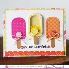 Sunny Days Shaped Shaker Set - With Bonus! Greta Hammond, Queen and Company Scrapbook Paper Crafts, Scrapbook Cards, Scrapbooking, Paper Crafting, Tarjetas Pop Up, Slider Cards, Shaped Cards, Card Patterns, Kids Cards