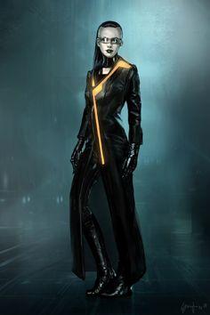 "Concept art from ""Tron: Legacy"" Character Inspiration, Character Art, Character Design, Character Reference, Shadowrun Rpg, Cyberpunk Girl, Cyberpunk Rpg, Future People, Tron Legacy"