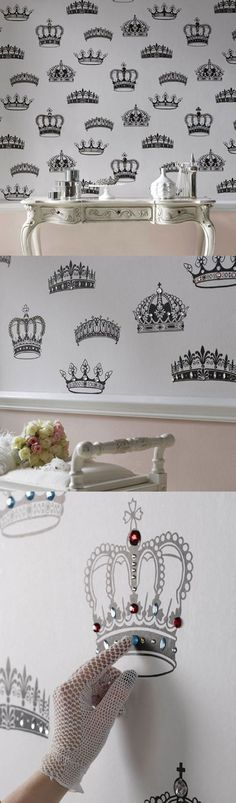 British Designer Wallpaper crowns with gems! Very unique in the right place- the Queen's Powder Room? The teenage diva's bedroom? Lots of possibilities!