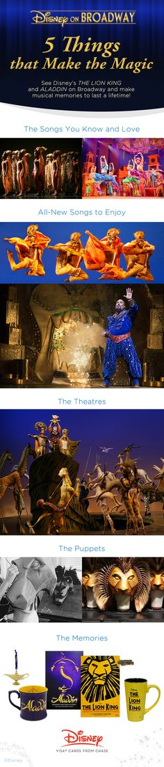 From the songs, to the pageantry, to the splendor of the New York City theatres, Disney's THE LION KING and ALADDIN on Broadway are two musical experiences you don't want to miss!