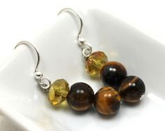 8mm tiger's eye and iridescent champagne rondelle crystal earrings - there are 1.5 inches long
