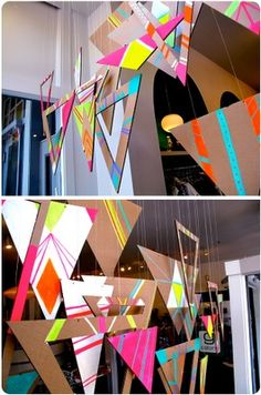 Try cutting them up to create a new window display! Just grab some neon acrylic paint from your local craft store to make this bright window display! Cardboard + Paint + Geometric Design = a Beautiful Window Display Visual Display, Display Design, Store Design, Visual Merchandising Displays, Vitrine Design, Cardboard Painting, Church Stage Design, Triangles, Paper Crafts