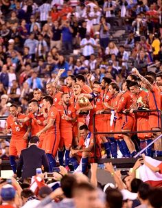 #COPA2016 #COPA100 Players of Chile celebrate before receiving the trophy after winning the Copa America Centenario final by defeating Argentina in the penalty shootout...