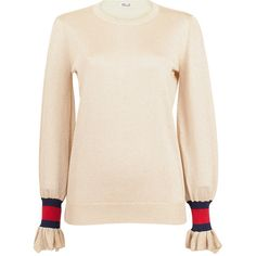 Baum und Pferdgarten Carmel Gold Lurex Sweater (905 RON) ❤ liked on Polyvore featuring tops, sweaters, metallic, lurex sweater, flutter-sleeve top, pink sweater, ruffled sweaters and ruffle top