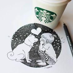 child with dog, drawing by tokomo-shintani 3d Sketch, Sketches, Illustrations, Illustration Art, Pantone, Starbucks, Anamorphic, Illusion Art, Magazine Art