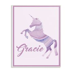 """Stupell Industries 10 in. x 15 in. """"Purple Agate Unicorn"""" by Daphne Polselli Printed Wood Wall Art, Multi-Colored Wooden Wall Plaques, Metal Wall Art, Unicorn Wall Art, Purple Agate, Baby Wall Art, Personalised Canvas, Kids Wood, Wood Print, Canvas Wall Art"""