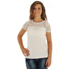 Color Fx Ladies' Ivory Lace Collar Short Sleeve Top