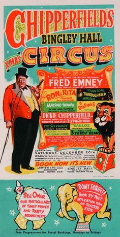 A bright and brash circus poster for the Chipperfield family.