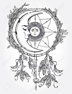 Hand Drawn Romantic Beautiful Drawing Of A Dream Catcher Adorned.. Royalty Free Cliparts, Vectors, And Stock Illustration. Image 46861134.