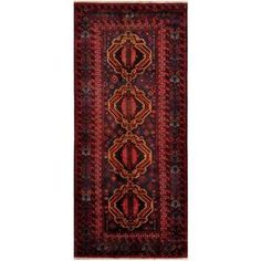 Herat Oriental Afghan Hand-knotted Tribal Balouchi Grey/ Red Wool Rug (4'10 x 10'10)