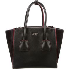 cf4629084458 Pre-owned Prada Glace Calf Mini Twin Pocket Tote ( 995) ❤ liked on Polyvore  featuring bags