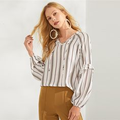 White Ruffle Detail Tie Neck Striped Top Casual Elegant Workwear