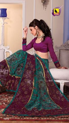 New Indian ethnic Bollywood Sari Designer Fancy Party Saree Wedding 7573 | eBay