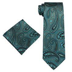 Landisun 40L Teal Blues Paisleys Mens Silk Tie Set: Tie+Hanky &Plastic Hook Landisun