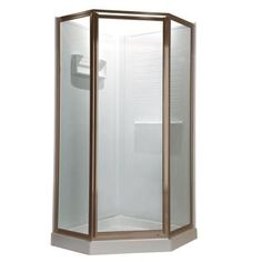 American Standard Prestige 24.25 in. x 68.5 in. Neo-Angle Shower Door in Brushed Nickel with Clear Glass - AMOPQF1.400.006 - The Home Depot
