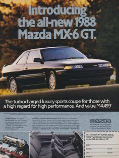 1988 Mazda MX-6 GT Car Ad Vintage Advertisement Print Wall Art