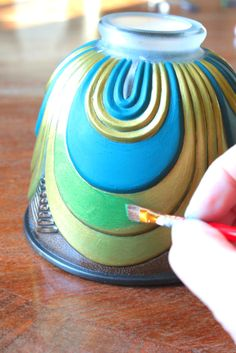 Whitney from The Rooster and the Hen takes a plain glass light bell and transforms it with paint.