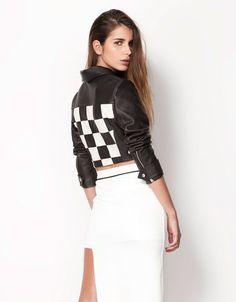 Bershka LEATHER jacket with back detail Price:299.00 lei