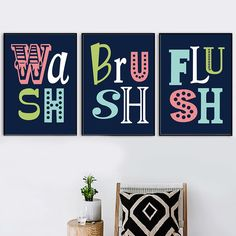 """""""Gohipang Colorful Quotes Child Bathroom Poster Print Wash Brush Flush Funny Toilet Sign Nordic Wall Art Picture Wash Room Home"""" Bathroom Posters, Bathroom Wall Art, Bathroom Kids, Canvas Poster, Wall Canvas, Poster Prints, Nursery Quotes, Wall Art Quotes, Funny Toilet Signs"""