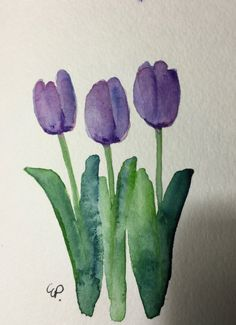 Your place to buy and sell all things handmade Yellow Tulips Watercolor Card / Original Hand Painted Watercolor Card Yellow Tulips, Love Spring Tulips. Dreaming of Spring! This is an original Watercolor Beginner, Watercolor Paintings For Beginners, Watercolor Projects, Easy Watercolor, Watercolor Sketch, Watercolor Cards, Watercolor Illustration, Watercolor Flowers, Beginner Painting