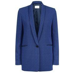 Sandro Ellis Jacquard Blazer (€175) ❤ liked on Polyvore featuring outerwear, jackets, blazers, blazer, blue blazer jacket, lapel jacket, blue blazers, sandro and patterned blazer
