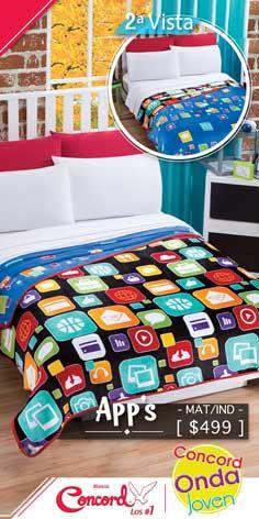 Lleva la tecnología hasta tu cama con el nuevo cobertor ultrasuave App´s #TodosSomosConcord 📲💻 Pinball, App, Blanket, Happy, Waves, Apps