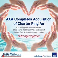 AXA now has a non-life insurance arm via its acquisition of Charter Ping An. This makes AXA Philippines' insurance portfolio more complete. #lifeinsurance #nonlifeinsurance #strongertogether #proudtobeAXA