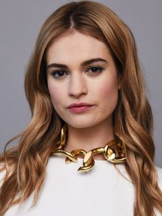 Lily James with bronde hair.
