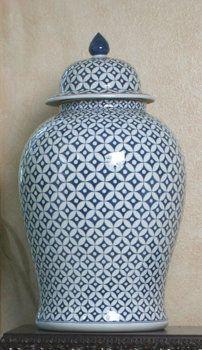 LARGE BLUE AND WHITE GINGER JAR - STAR JASMINE