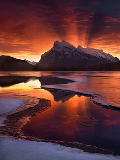 Photo: November Seventeen, Banff National Park, Alberta by Marc Adamus . An amazing sunrise light show outside Banff in the Canadian Rockies. Probably the most intense sunrise or sunset light I've ever seen in nature - Marc Adamus Beautiful Sunset, Beautiful World, Beautiful Places, Beautiful Pictures, Beautiful Beautiful, Beautiful Scenery, All Nature, Amazing Nature, Banff National Park